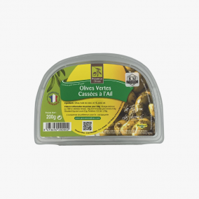OLIVES CASSEES A L'AIL 200G